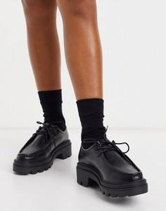 Черные туфли на плоской массивной подошве со шнуровкой ASOS DESIGN Macy-Черный цвет