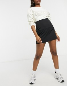 Черная строгая юбка-трапеция мини ASOS DESIGN-Черный цвет