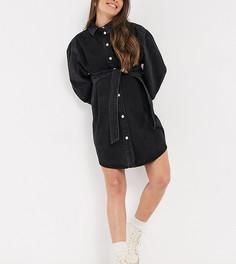 Джинсовое платье-рубашка выбеленного черного цвета в стиле oversized c поясом ASOS DESIGN Maternity-Черный цвет
