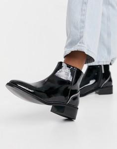 Черные лакированные ботинки на плоской подошве с отделкой стразами на каблуке River Island-Черный цвет