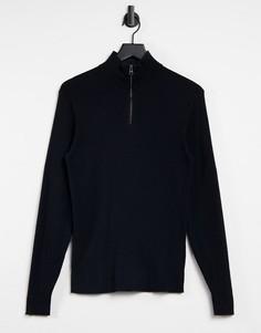 Черный джемпер с короткой молнией Esprit-Черный цвет
