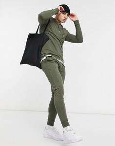 Обтягивающий спортивный костюм с супероблегающими джоггерами цвета хаки ASOS DESIGN-Зеленый цвет