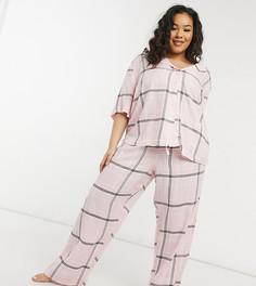 Комбинируемые розовые прямые штаны от пижамы в клетку с жаккардовым поясом ASOS DESIGN Curve-Розовый цвет
