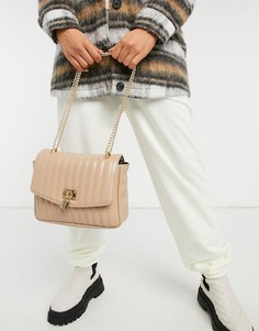 Бежевая лаковая стеганая сумка через плечо с декоративным навесным замочком ASOS DESIGN-Бежевый