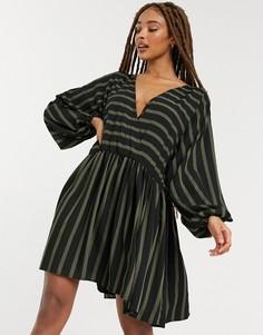 Повседневное платье мини в стиле oversized с присборенной юбкой в черную/зеленую полоску ASOS DESIGN-Многоцветный