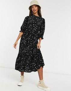 Платье миди с высоким воротом и объемными рукавами со звездным принтом New Look-Черный цвет