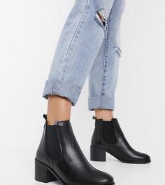 Черные кожаные ботинки челси на блочном каблуке для широкой стопы Depp-Черный