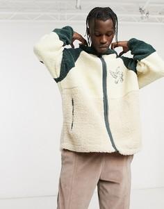 Плюшевая спортивная куртка в стиле колор-блок ASOS Actual-Бежевый