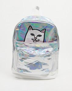 Серебристый рюкзак с котом Нермалом и лапками на липучке RIPNDIP