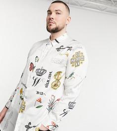 Белая удлиненная атласная рубашка с принтом ASOS DESIGN Plus-Черный цвет