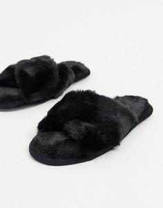 Черные пушистые слиперы с перекрещенными ремешками Loungeable-Черный цвет