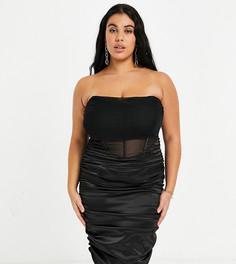 Черное платье-бандо миди с корсетной вставкой из бархата и атласа Saint Genies Plus-Черный цвет