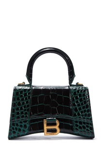 Темно-зеленая сумка из кожи с отделкой под рептилию Hourglas XS Balenciaga