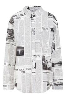 Рубашка с газетным принтом Balenciaga