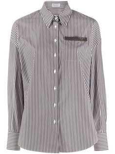 Brunello Cucinelli рубашка в тонкую полоску с длинными рукавами