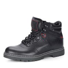 Черные кожаные ботинки на меху Respect