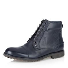 Синие кожаные ботинки на меху Respect