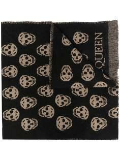 Alexander McQueen жаккардовый шарф с узором Skull