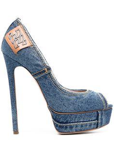 Casadei джинсовые туфли-лодочки на платформе