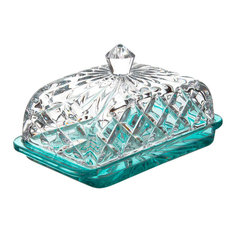 Масленка Crystalite Bohemia Моцарт Мозаика лагуна 17 см