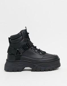 Черные ботинки из искусственной кожи со шнуровкой и массивной подошвой с ярким дизайном ASOS DESIGN-Черный