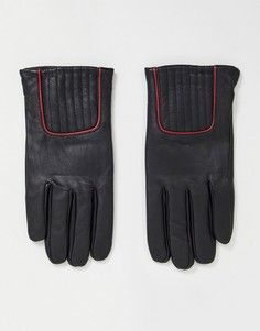 Черные кожаные перчатки с красной окантовкой ASOS DESIGN-Черный цвет