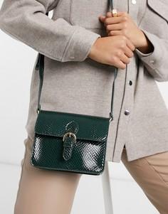 Зеленая сумка-портфель со змеиным узором ASOS DESIGN-Зеленый цвет