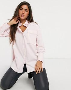 Удлиненная oversized-рубашка с контрастной строчкой Lost Ink-Розовый цвет