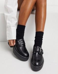 Черные кожаные туфли на шнуровке и плоской подошве ASOS DESIGN Madie-Черный цвет