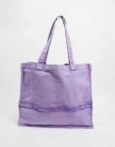 Сумка-тоут в стиле oversized с необработанными краями выбеленного сиреневого цвета ASOS DESIGN-Фиолетовый цвет