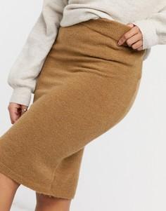 Коричневая юбка для дома из мягкого трикотажа от комплекта Pieces-Коричневый цвет