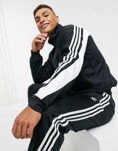 Черно-белая олимпийка с 3 полосками adidas Originals-Черный