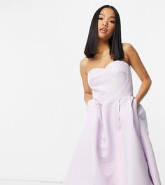 Платье мидакси лавандового цвета с лифом бандо и ассиметричным подолом Chi Chi London Petite-Розовый цвет