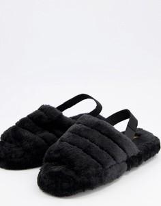 Черные пушистые слиперы с мягким ремешком на пятке Truffle Collection-Черный цвет