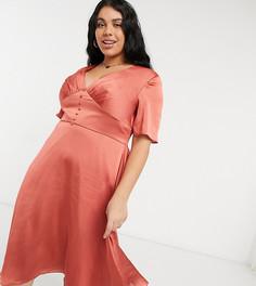 Приталенное платье миди рыжего цвета на пуговицах с расклешенными рукавами Chi Chi London Plus-Коричневый цвет