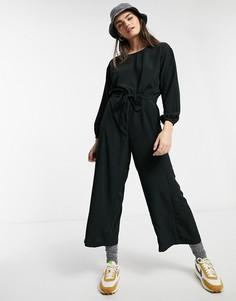 Широкий черный комбинезон Monki-Черный цвет