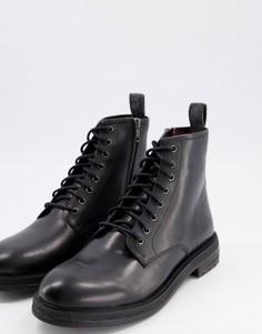 Черные кожаные ботинки на шнуровке Walk London-Черный цвет