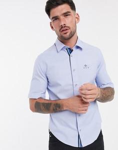Рубашка с короткими рукавами BOSS Athleisure-Голубой