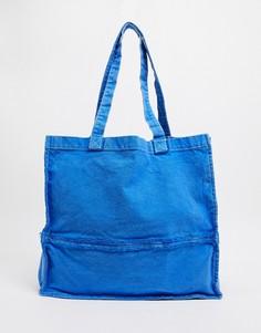 Сумка-тоут в стиле oversized с необработанными краями выбеленного синего цвета ASOS DESIGN-Голубой