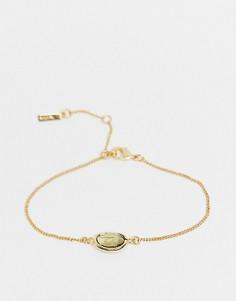 Позолоченная цепочка с камнем из прозрачного стекла Pilgrim-Золотистый