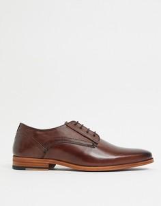 Коричневые кожаные туфли со шнуровкой ASOS DESIGN-Коричневый