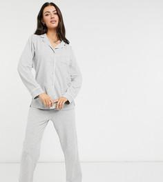 Серая меланжевая пижама из органического хлопка со штанами и рубашкой с отложным воротником Lindex-Серый