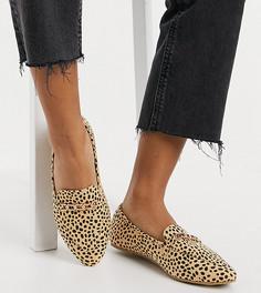 Леопардовые туфли на плоской подошве с цепочкой RAID Wide Fit Lane-Многоцветный