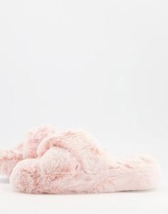 Розовые слиперы на плоской подошве New Look-Розовый цвет