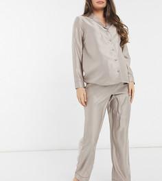 Серо-бежевая пижама на пуговицах New Look Maternity-Светло-коричневый