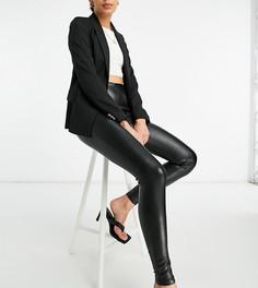 Черные леггинсы из искусственной кожи New Look Tall-Черный цвет