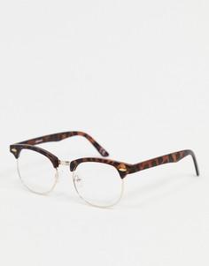 Модные очки в стиле ретро в черепаховой оправе с прозрачными линзами и золотистой фурнитурой ASOS DESIGN-Коричневый цвет
