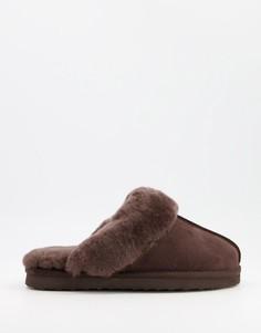 Шоколадные мюли-слиперы из овечьей шкуры Redfoot-Коричневый цвет