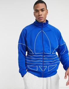 Синяя олимпийка с большим логотипом-трилистником adidas Originals-Голубой