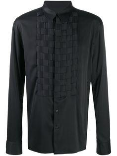Bottega Veneta рубашка с длинными рукавами и вставкой в клетку